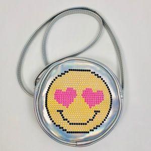 Children's Place Iridescent Silver Emoji Purse